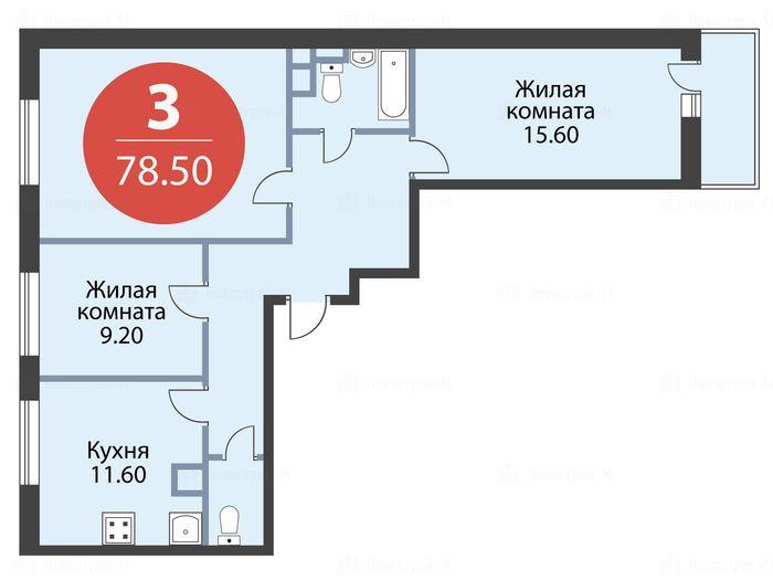 Продается трехкомнатная квартира за 6 087 984 рублей. Красногорск, бульвар Космонавтов, 16.