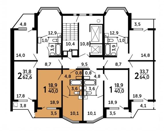 Продается однокомнатная квартира за 2 407 680 рублей. Московская обл, г Домодедово, тер СНТ Комплекс, к 209.