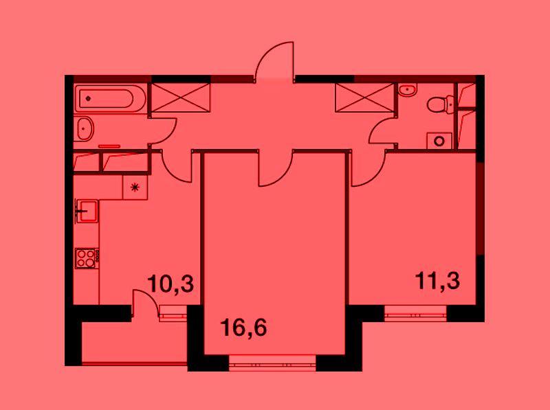 Продается двухкомнатная квартира за 4 300 003 рублей. Московская обл, г Балашиха, ул Ситникова, к 2.