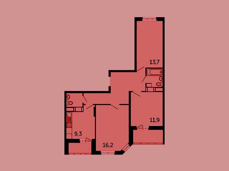 Продается трехкомнатная квартира за 3 806 001 рублей. Раменское, Северное шоссе, к14Б.
