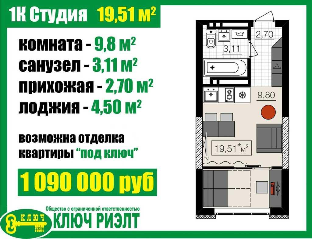 Продается однокомнатная квартира за 1 260 000 рублей. г Барнаул, ул Челюскинцев, д 80В.