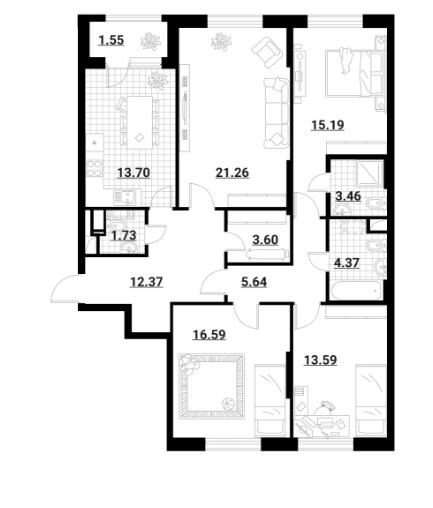 Продается четырехкомнатная квартира за 15 728 022 рублей. г Москва.