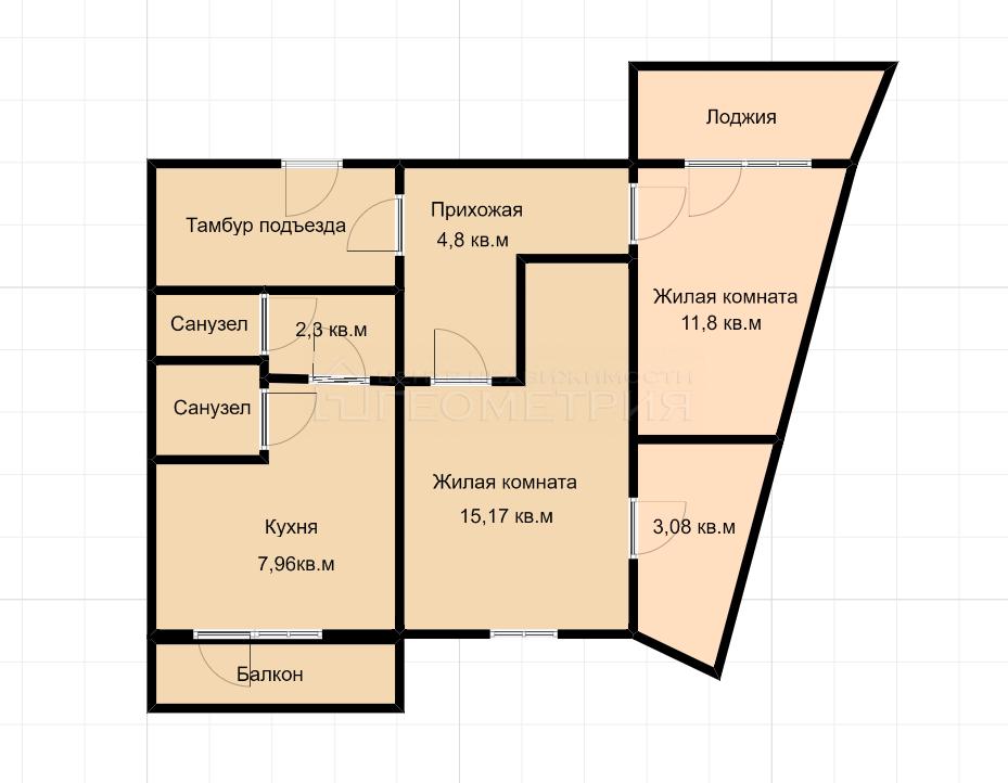 2-комн. квартира, 56 кв.м., Рождественская набережная, 25, краснодар