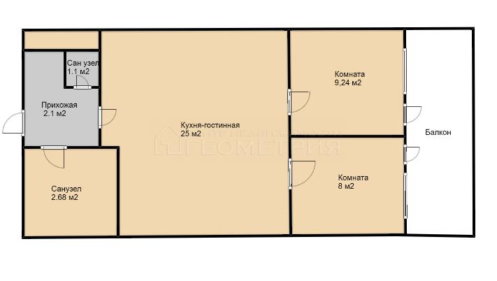 2-комн. квартира, 45 кв.м., проспект Чекистов, 39, краснодар
