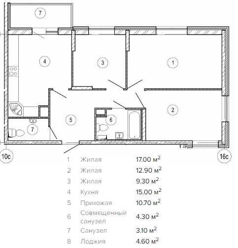 Продается трехкомнатная квартира за 6 587 850 рублей. Красногорск, жилой комплекс Изумрудные Холмы, к17.