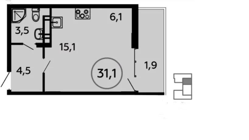 Продается однокомнатная квартира за 4 184 865 рублей. Коммунарка, Скандинавский бульвар, 4к2.