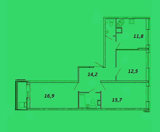 Продается трехкомнатная квартира за 6 490 001 рублей. Красногорск, бульвар Космонавтов, 8.