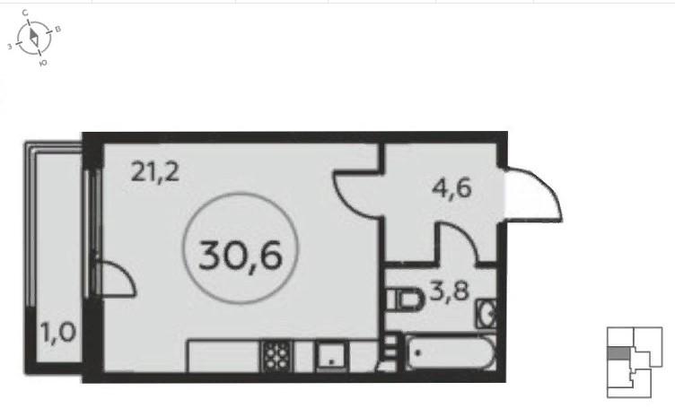 Продается однокомнатная квартира за 4 604 312 рублей. Коммунарка, жилой комплекс Москва А101, к20/2.