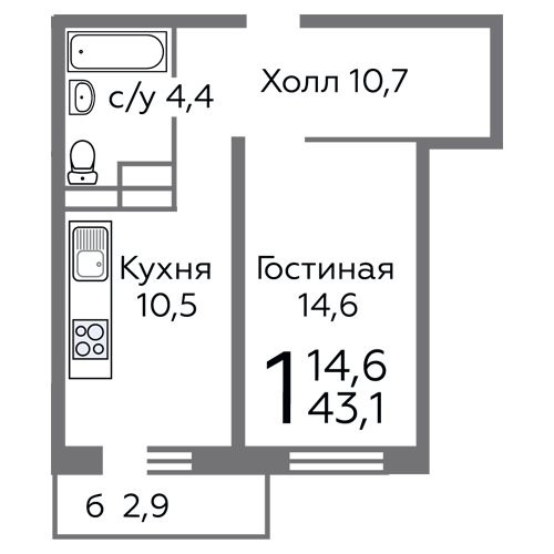 Продается однокомнатная квартира за 4 638 840 рублей. Видное, бульвар Зелёные Аллеи, 2.