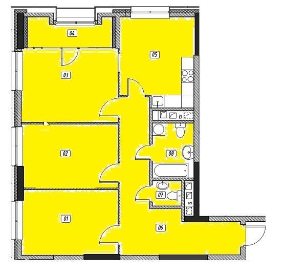 Продается трехкомнатная квартира за 13 029 877 рублей. г Москва, ул Поляны, д 5.