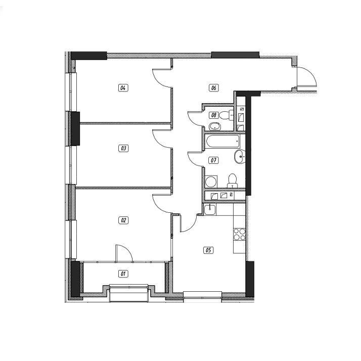 Продается трехкомнатная квартира за 12 777 000 рублей. г Москва, ул Поляны, д 5.
