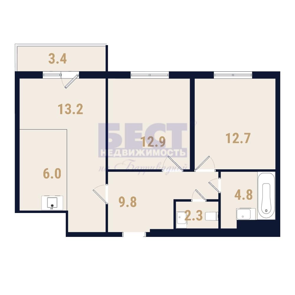 Продается трехкомнатная квартира за 13 010 000 рублей. г Москва, ул Фестивальная, д 2.