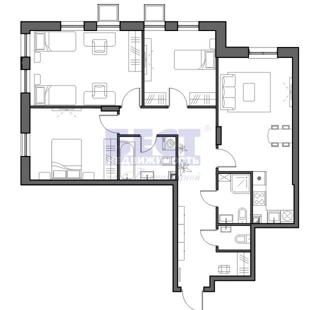 Продается трехкомнатная квартира за 15 380 000 рублей. г Москва, ул Красных Зорь, д 33А стр 2.