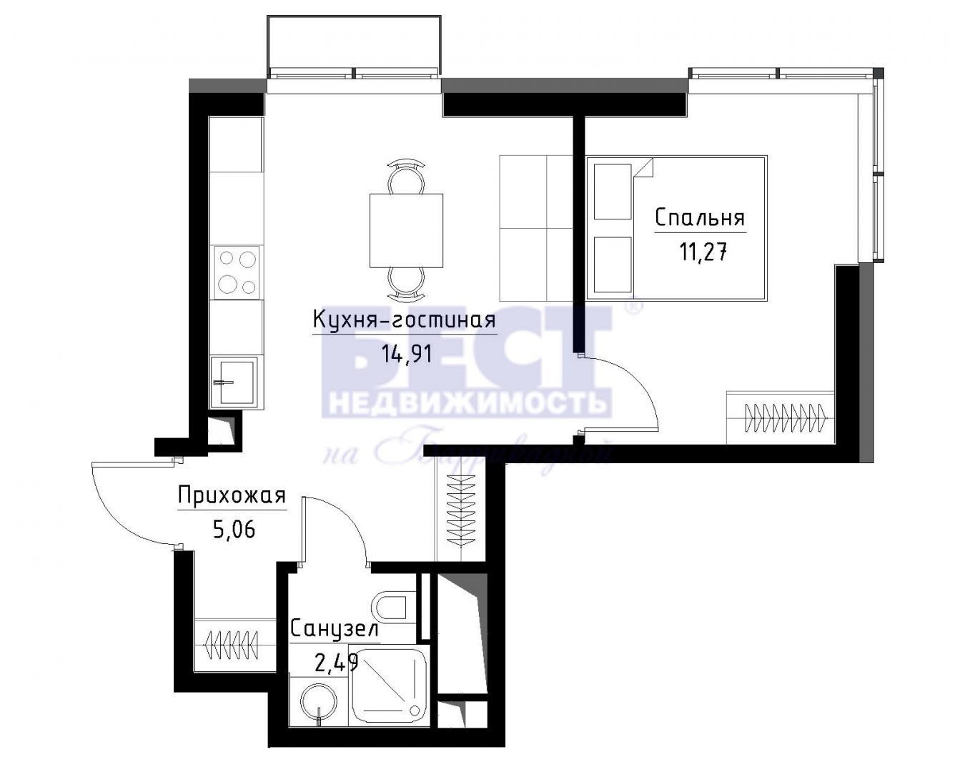 Продается однокомнатная квартира за 6 180 000 рублей. г Москва, Волгоградский пр-кт, д 32 к 46.