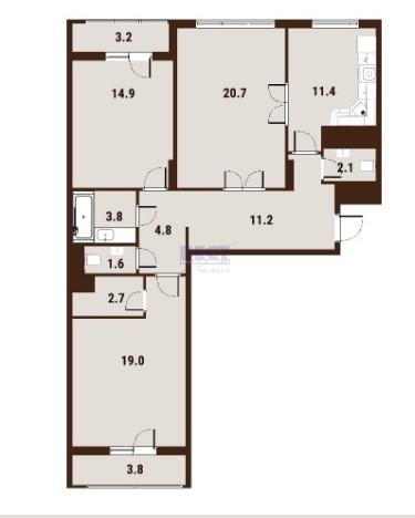 Продается трехкомнатная квартира за 28 770 000 рублей. г Москва, ул Вавилова, д 39А.