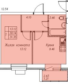 Продажа 1-к квартиры с. Новое Шигалеево, ул. Габдуллы Тукая, стр. 3.12