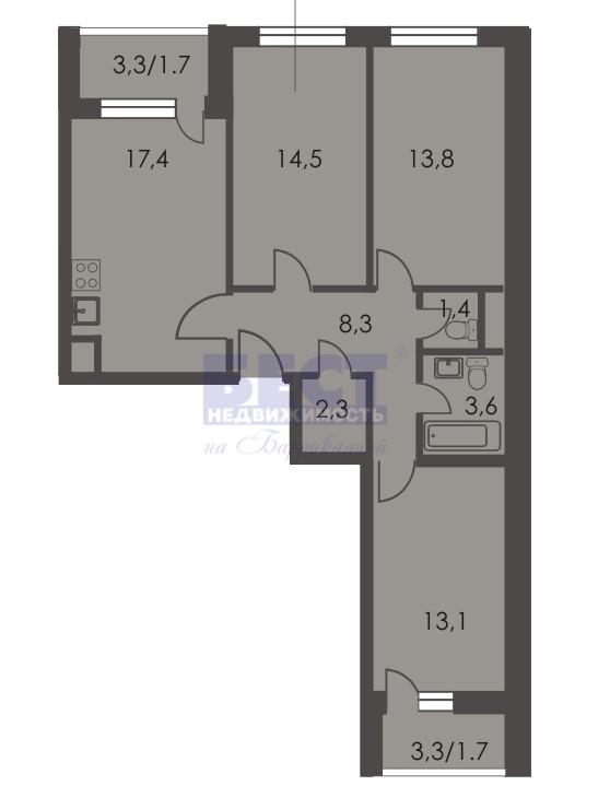 Квартира на продажу по адресу Россия, Московская область, городской округ Люберцы, Люберцы, Хлебозаводская улица, 10