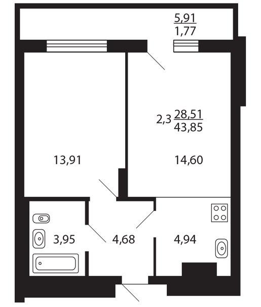 Продажа 2-к квартиры приволжский