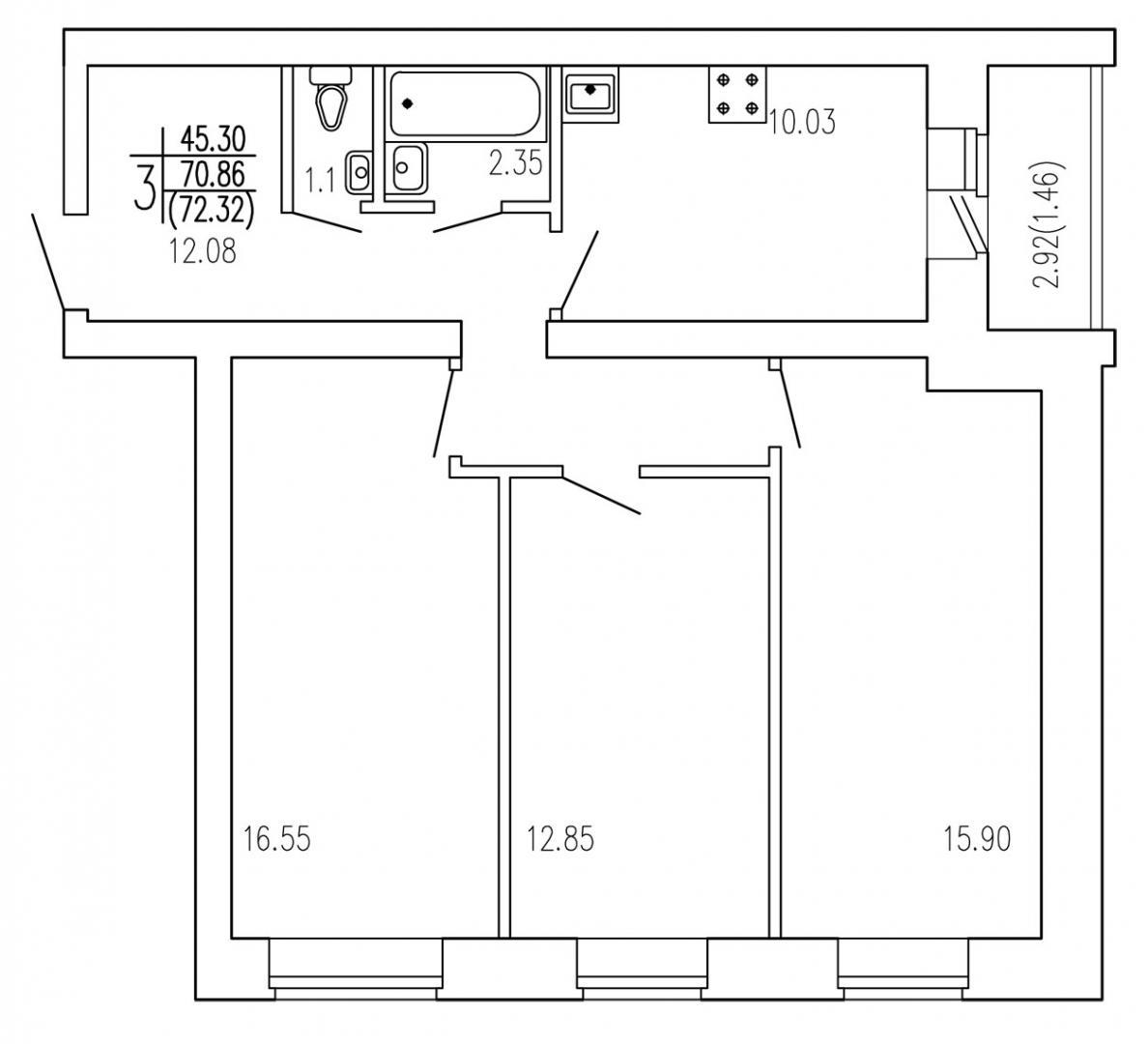 Продажа 3-к квартиры титова