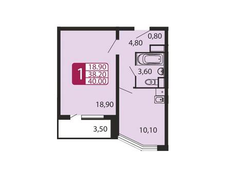 Продается однокомнатная квартира за 2 367 000 рублей. Домодедово, улица Творчества, 10А.