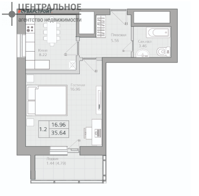 1-комнатная квартира, 35.64 кв.м., 19/19 этаж