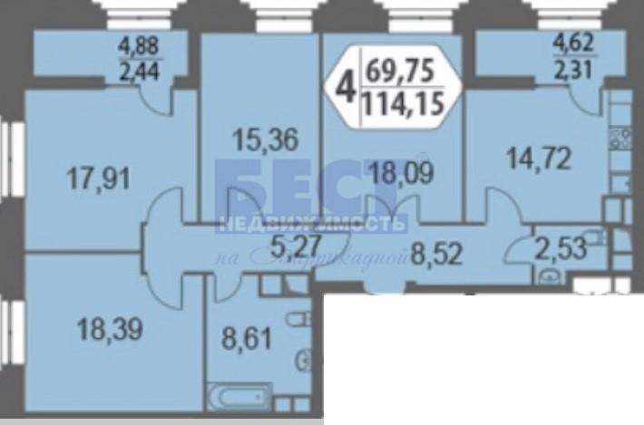 Квартира на продажу по адресу Россия, Московская область, Москва, улица Берзарина, 32с3