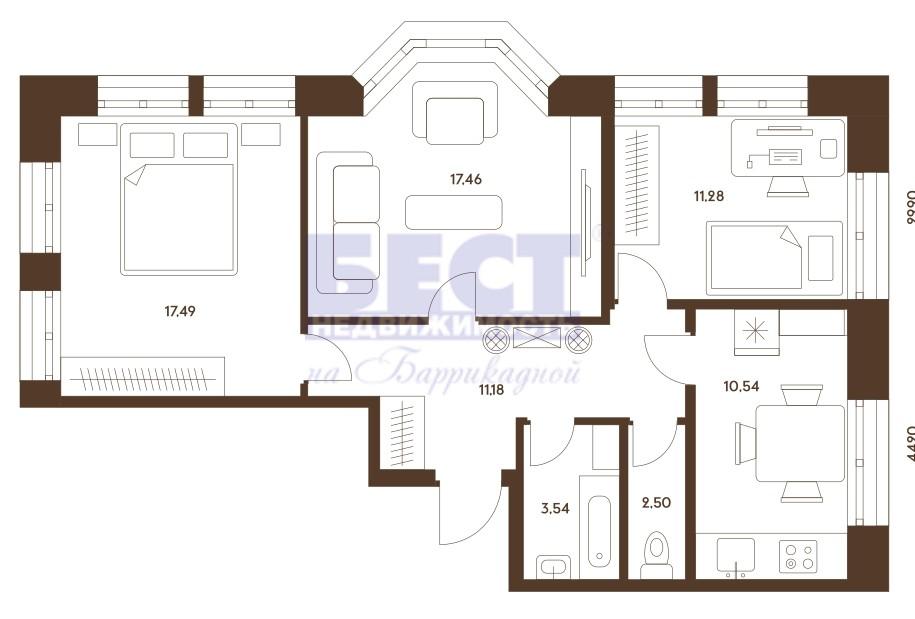 Квартира на продажу по адресу Россия, Московская область, Москва, Донецкая улица, 34