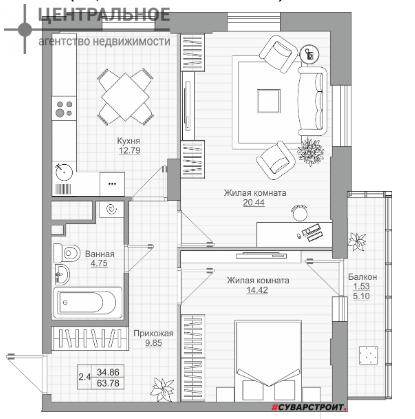 2-комнатная квартира, 63 кв.м., 9/19 этаж