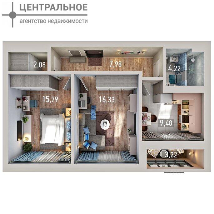 2-комнатная квартира, 59.13 кв.м., 2/17 этаж
