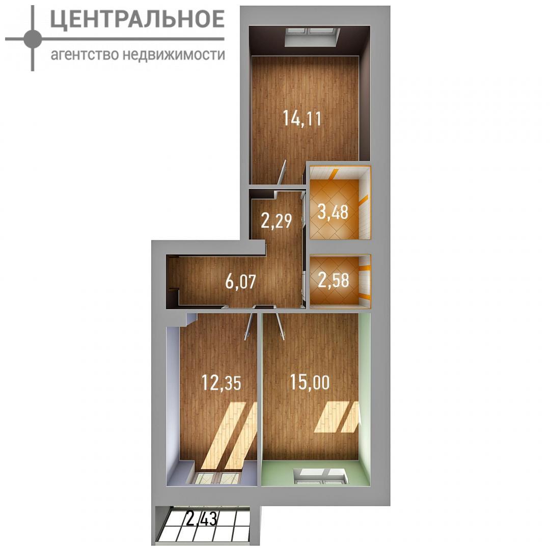 2-комнатная квартира, 57.09 кв.м., 3/3 этаж