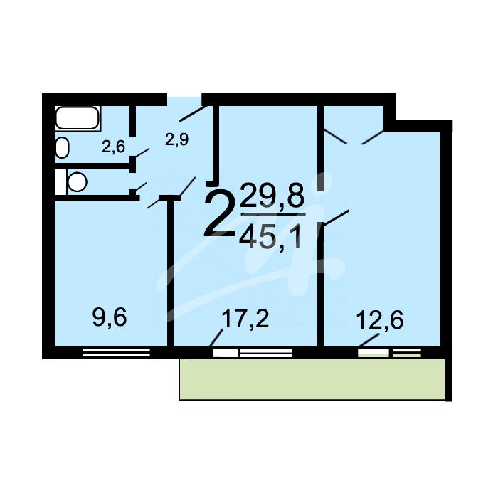 Продам 2-комн. квартиру по адресу Россия, Московская область, Москва, Усачёва улица, 4 фото 2 по выгодной цене