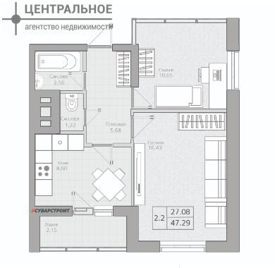 2-комнатная квартира, 47.29 кв.м., 18/19 этаж
