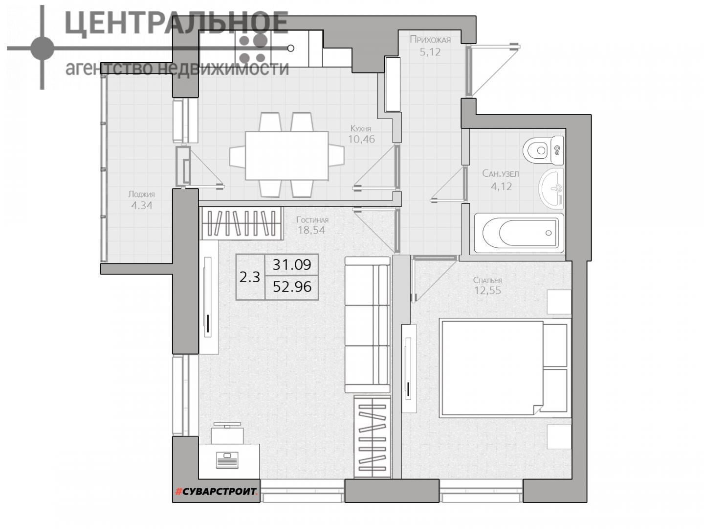 2-комнатная квартира, 52.96 кв.м., 10/25 этаж