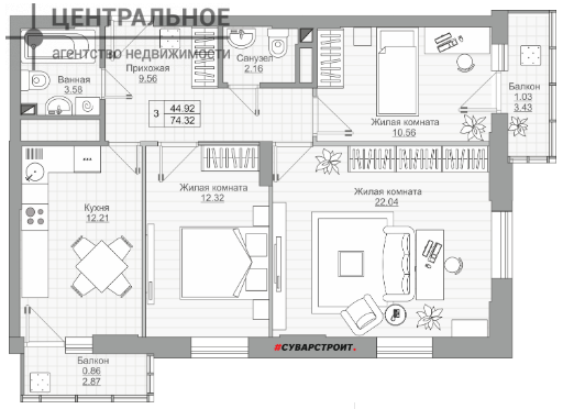 3-комнатная квартира, 74.84 кв.м., 7/19 этаж