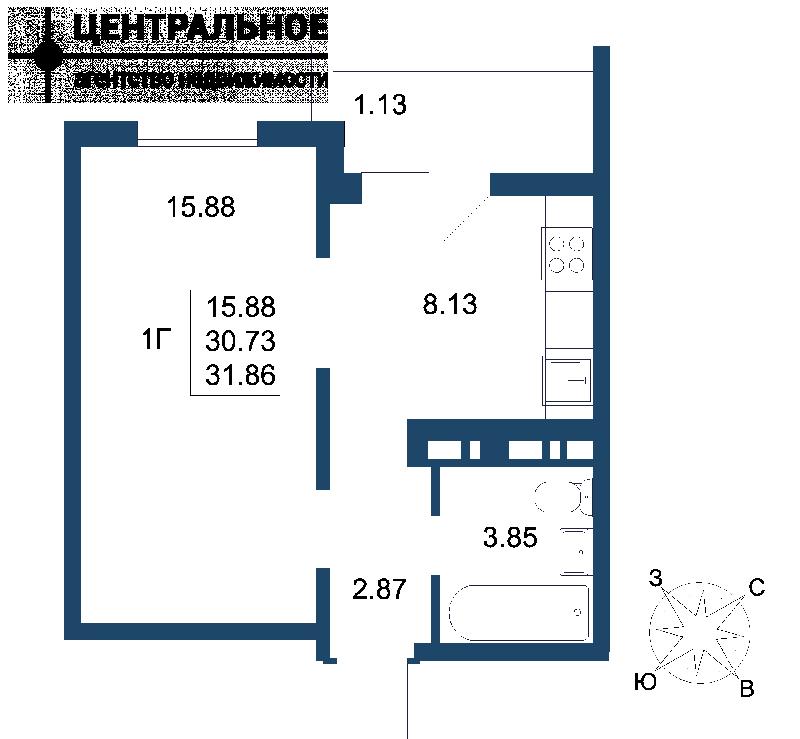 1-комнатная квартира, 32 кв.м., 17/17 этаж