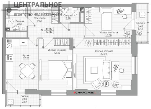 3-комнатная квартира, 74.05 кв.м., 9/19 этаж