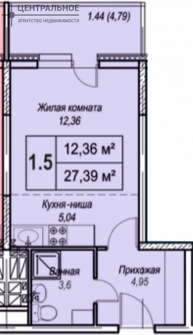 Квартира 31 кв.м., 6/19 этаж