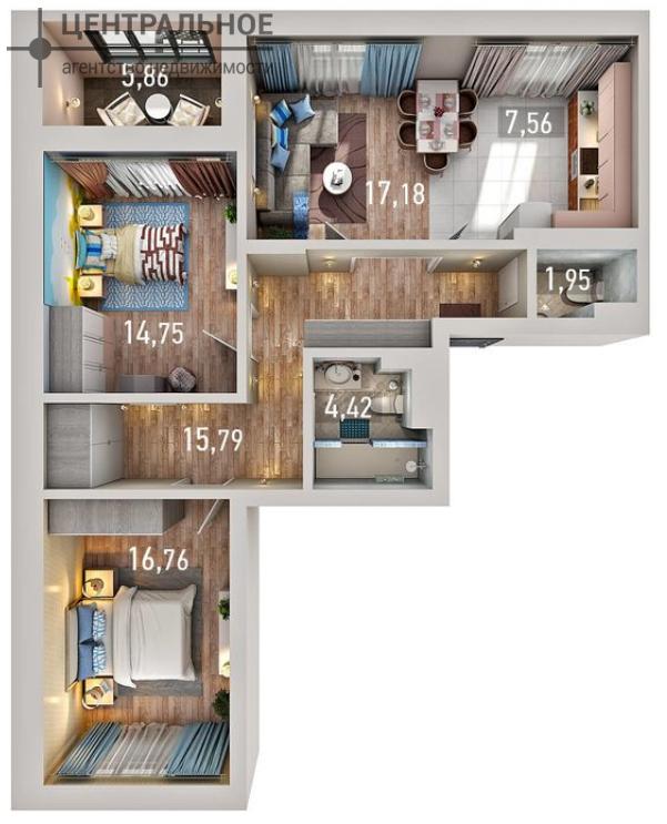 3-комнатная квартира, 82 кв.м., 6/10 этаж