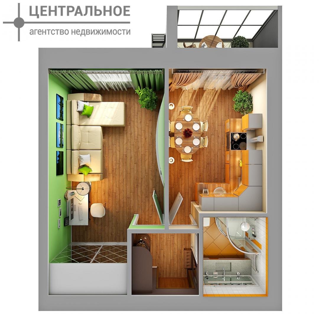 1-комнатная квартира, 35.4 кв.м., 2/3 этаж