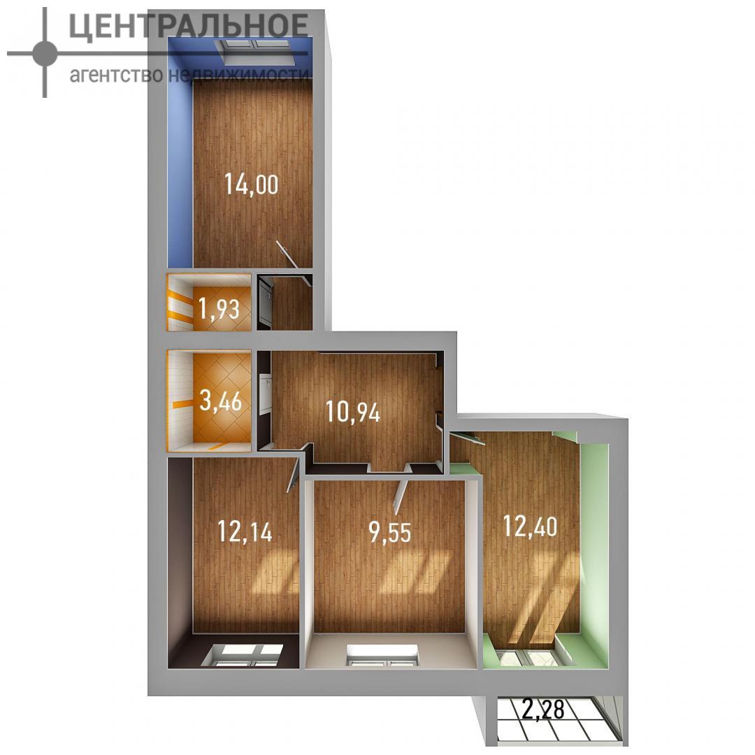 3-комнатная квартира, 65.56 кв.м., 3/3 этаж