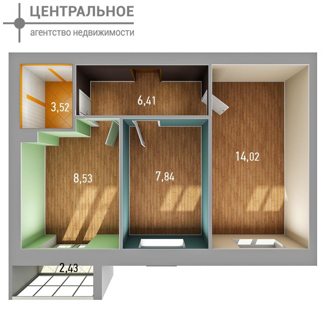 2-комнатная квартира, 42.02 кв.м., 2/3 этаж