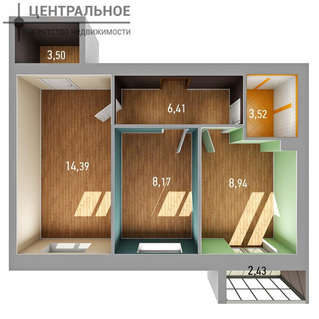 2-комнатная квартира, 44.69 кв.м., 2/3 этаж