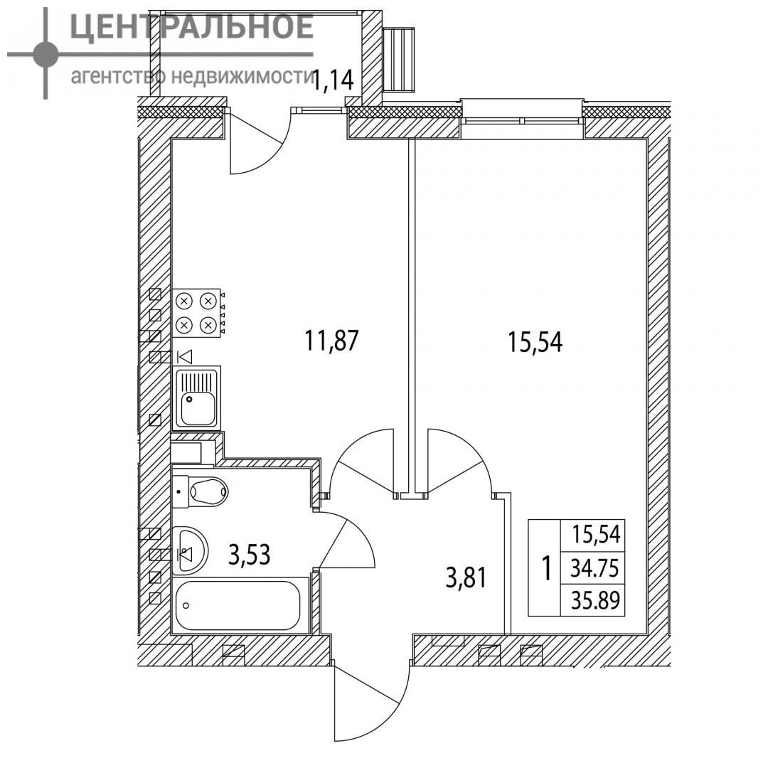 1-комнатная квартира, 35.98 кв.м., 3/3 этаж