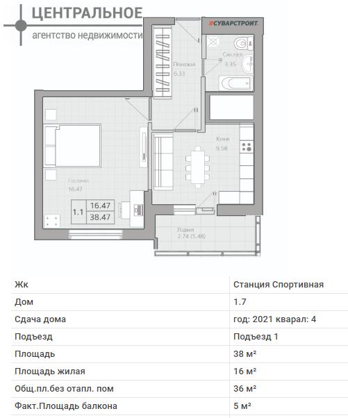 1-комнатная квартира, 38.8 кв.м., 12/19 этаж