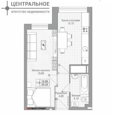 1-комнатная квартира, 35.28 кв.м., 7/24 этаж