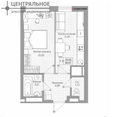 1-комнатная квартира, 36.81 кв.м., 13/24 этаж