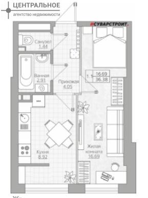 1-комнатная квартира, 36.38 кв.м., 12/24 этаж