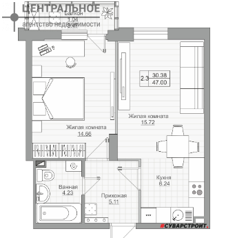 2-комнатная квартира, 48 кв.м., 16/20 этаж