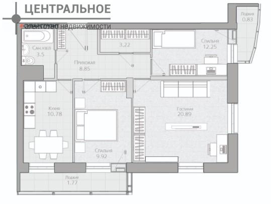 3-комнатная квартира, 69.1 кв.м., 2/19 этаж