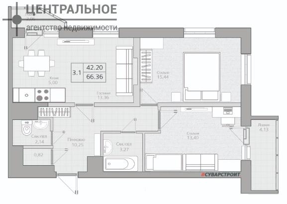 3-комнатная квартира, 68 кв.м., 12/25 этаж